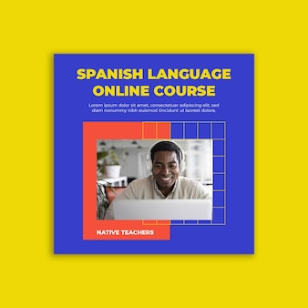 Postagem online no facebook para aprender espanhol moderno