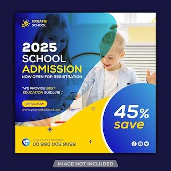 Postagem promocional do instagram para educação escolar e modelo de banner da web