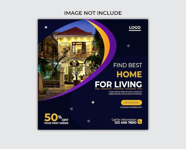 Postagem promocional imobiliária no facebook e modelo de banner de mídia social
