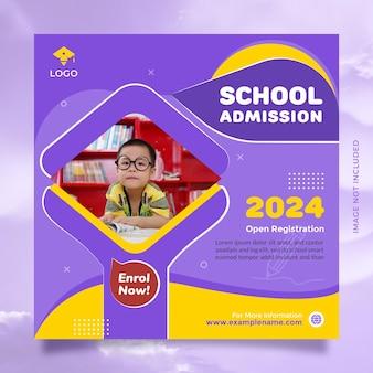 Postagem promocional na mídia social para admissão na educação escolar e modelo de banner com a cor azul amarela