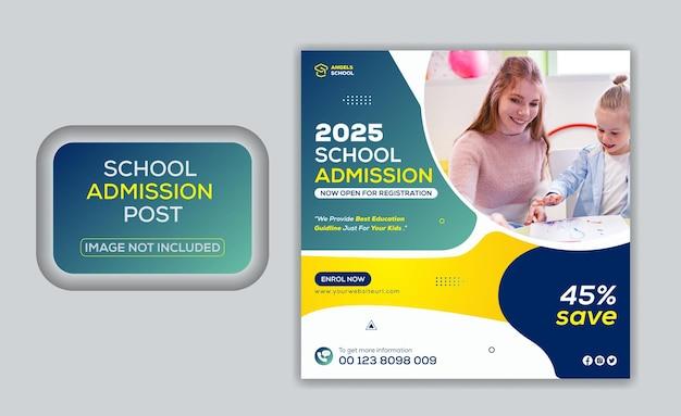 Postagem promocional na mídia social para admissão na educação escolar e modelo de banner da web do instagram