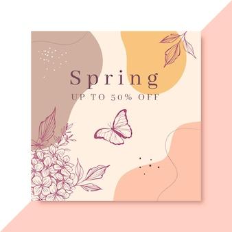 Postagem realista de primavera desenhada à mão no facebook