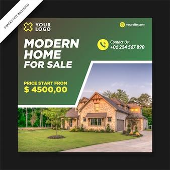 Postagem sobre casa moderna à venda nas redes sociais