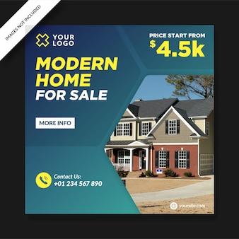 Postagem sobre casa moderna à venda nas redes sociais Vetor Premium