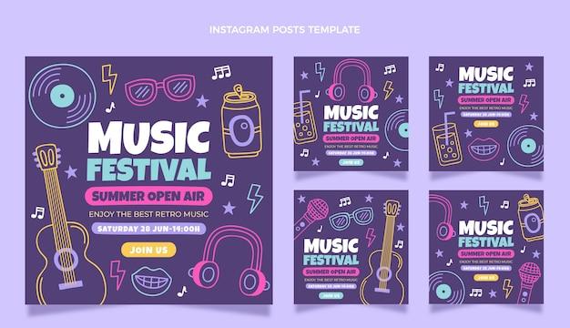 Postagens coloridas do instagram de festivais de música desenhadas à mão