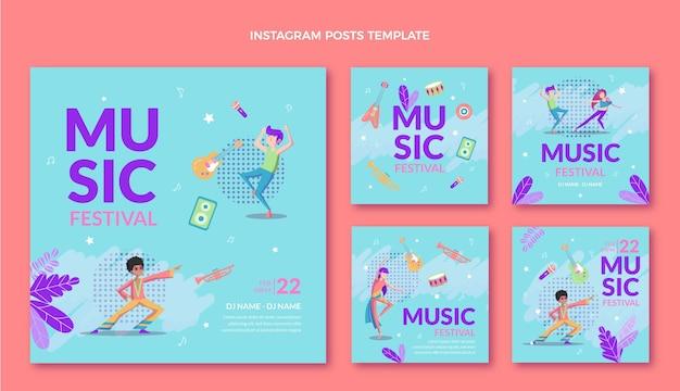 Postagens coloridas do instagram de festivais de música