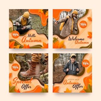Postagens com gradiente de outono no instagram com foto