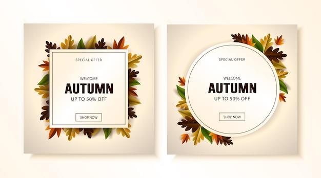 Postagens da mídia social de outono