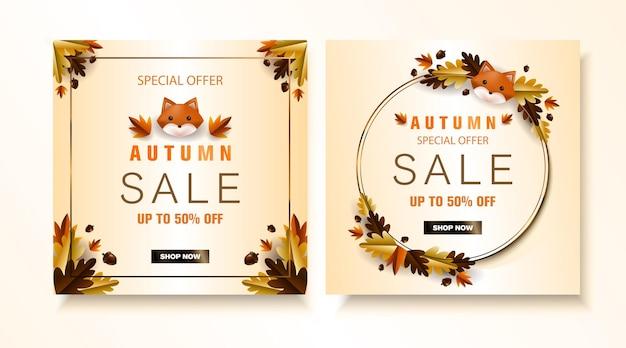 Postagens da mídia social de venda no outono