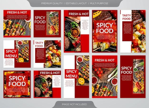 Postagens de comida picante para mídias sociais