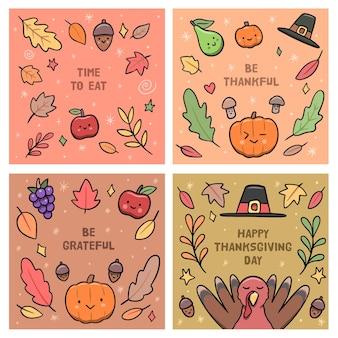 Postagens de instagram de ação de graças desenhadas à mão