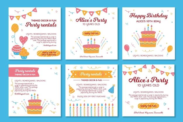 Postagens de instagram de aniversário de crianças