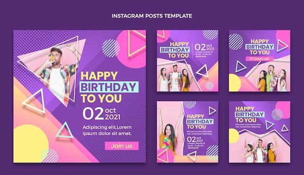 Postagens de instagram de aniversário em meio-tom gradiente