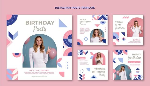 Postagens de instagram de aniversário em mosaico plano