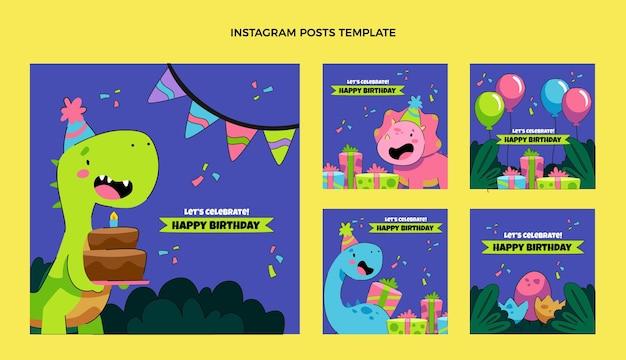 Postagens de instagram de aniversário infantil desenhadas à mão