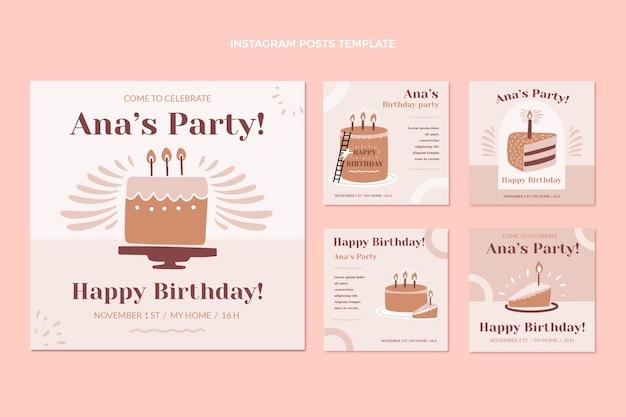 Postagens de instagram de aniversário mínimo de design plano