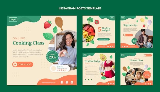 Postagens de instagram de aula de culinária de design plano