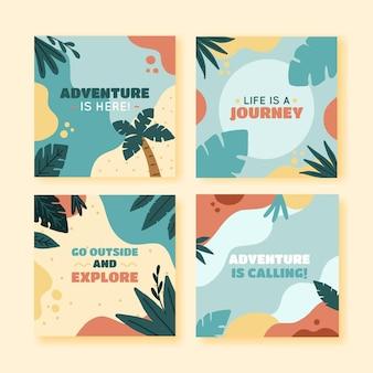 Postagens de instagram de aventura desenhadas à mão