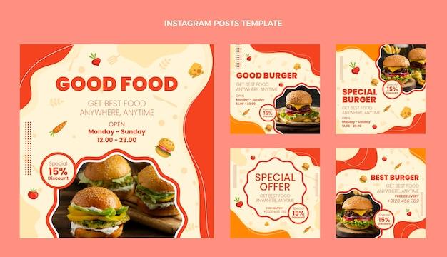 Postagens de instagram de boa comida de design plano