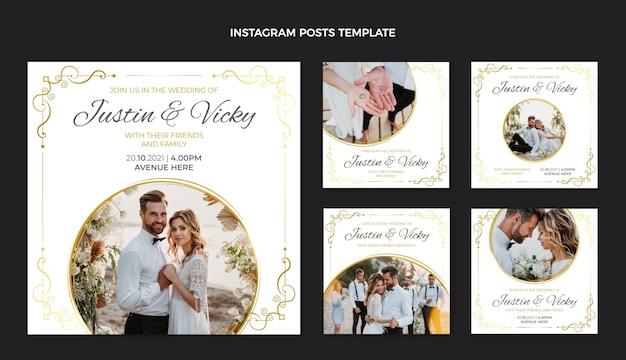 Postagens de instagram de casamento de ouro de luxo realistas
