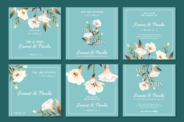 Postagens de instagram de casamento floral