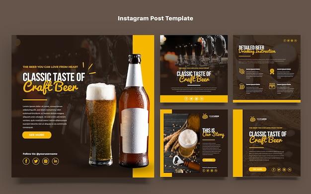Postagens de instagram de cerveja artesanal de design plano