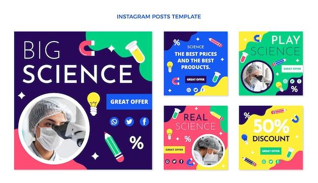 Postagens de instagram de ciência de design plano