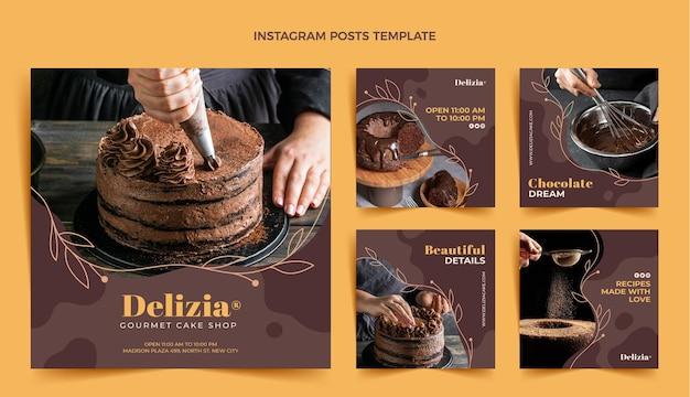 Postagens de instagram de comida de design plano