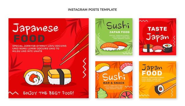 Postagens de instagram de comida desenhadas à mão