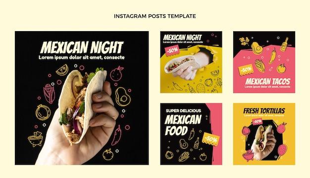 Postagens de instagram de comida mexicana de design plano