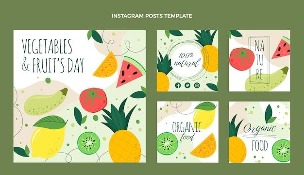 Postagens de instagram de comida orgânica de design plano