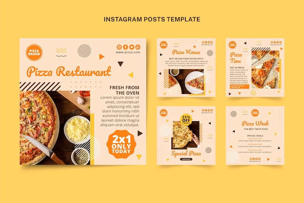 Postagens de instagram de comida plana
