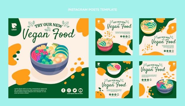 Postagens de instagram de comida vegana de design plano
