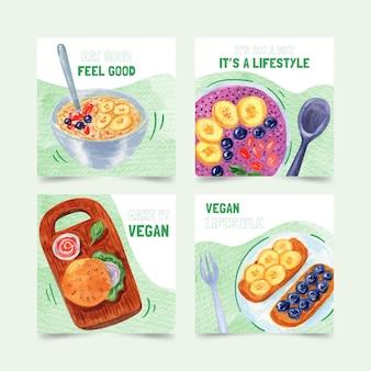 Postagens de instagram de comida vegana em aquarela