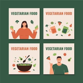Postagens de instagram de comida vegetariana de design plano