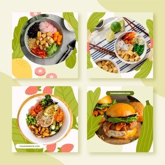 Postagens de instagram de comida vegetariana desenhada à mão