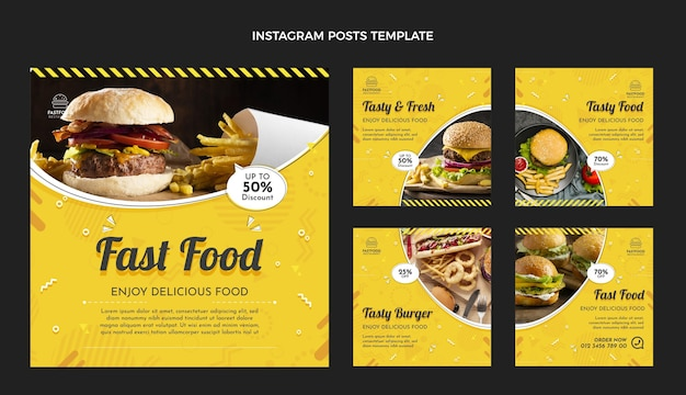 Postagens de instagram de fast food de design plano