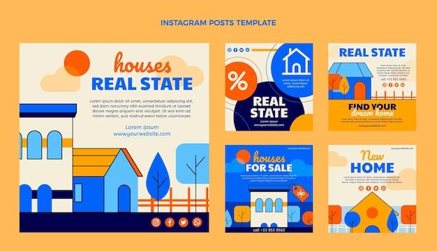 Postagens de instagram de imóveis geométricos de design plano