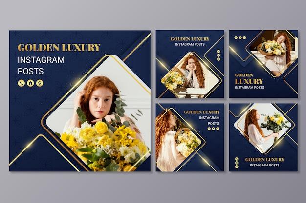 Postagens de instagram de luxo dourado gradiente com foto