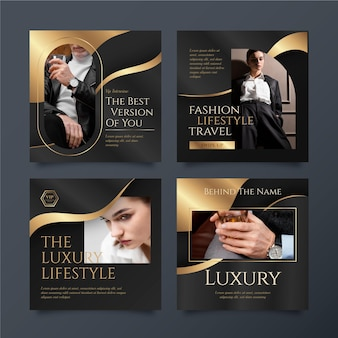 Postagens de instagram de luxo gradiente dourado