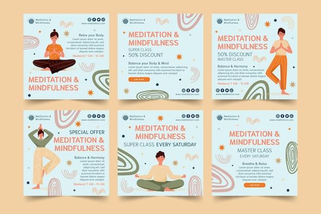 Postagens de instagram de meditação e atenção plena