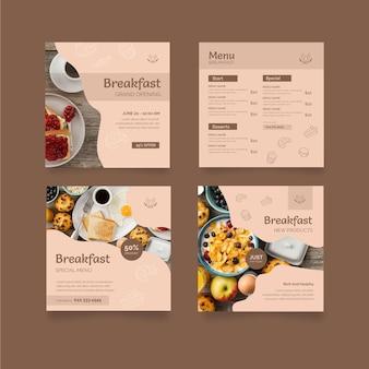 Postagens de instagram de restaurante de café da manhã