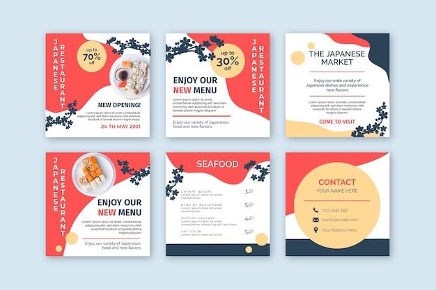Postagens de instagram de restaurante japonês