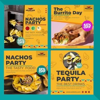 Postagens de instagram de restaurante mexicano