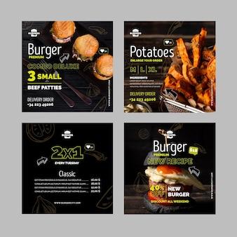 Postagens de instagram de restaurantes de hambúrgueres