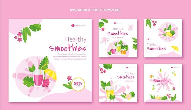 Postagens de instagram de smoothies de design plano