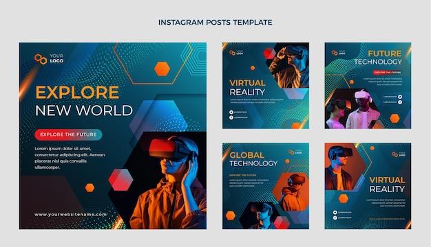 Postagens de instagram de tecnologia de meio-tom gradiente