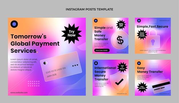 Postagens de instagram de tecnologia de textura gradiente