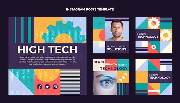 Postagens de instagram de tecnologia mínima de design plano