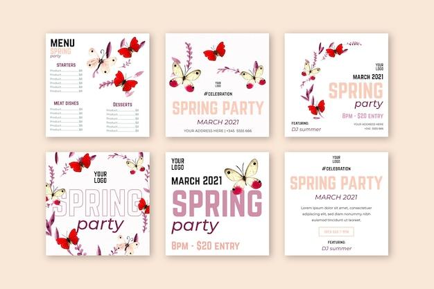 Postagens de instagram de venda de primavera em aquarela